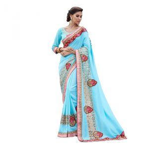 Styloce Blue Art Silk Saree (code - Sty-9290-ss1)