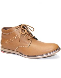 "Guava Tan High Ankle Men""s Casual Leather Shoes"