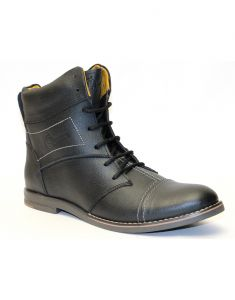 "Guava Black Genuine Men""s Leather Boots"