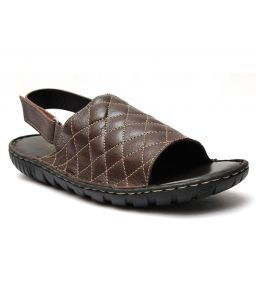 Guava Brown Leather Sandals For Men - Product Code (gv15ja125)