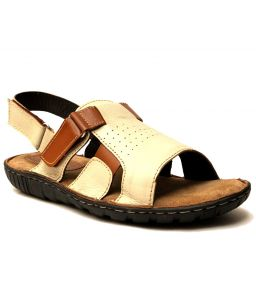 Guava Cream Leather Sandals For Men - Product Code (gv15ja129)