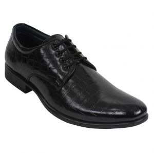 Guava Crocodile Textured Derby Shoe - Black - Gv15ja253