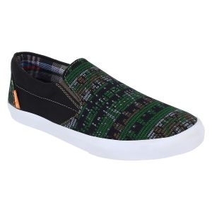 "Guava Men""s Black And Green Slip-on Sneakers - (product Code - Gv15ja289)"