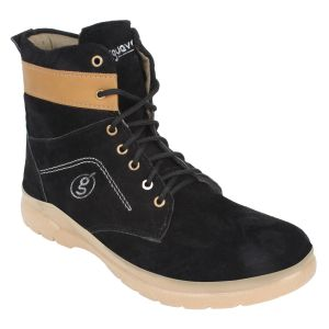 "Guava Men""s Suede Leather Boots - Black - (product Code - Gv15ja315)"