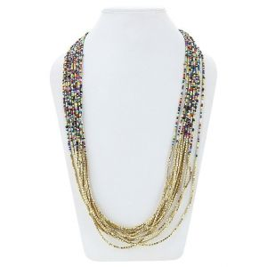 Adbeni Multi Glass Beads And Brass Beads Long Handcraft Necklace-adb-009