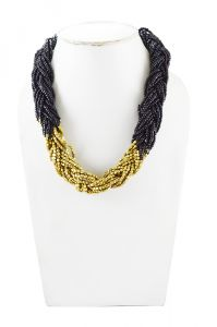 Adbeni Black And Gold Glass Beads And Metal Beads Braid Choker Handcraft Necklace-adb-016blk