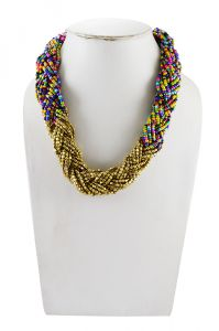 Adbeni Multicoloured Glass Beads And Metal Beads Braid Choker Handcraft Necklace-adb-016