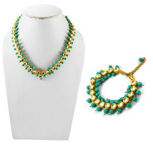 Adbeni Multicoloured Glass Beads And Metal Stone Handcraft Adjustable Necklace With Bracelet -adb-24