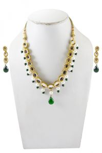 Adbeni Multicoloured Glass Beads And Metal Handcraft Necklace With Earning-adb-26