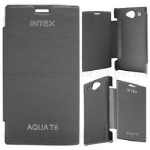 Gci Flip Cover For Intex Aqua T5 (black)