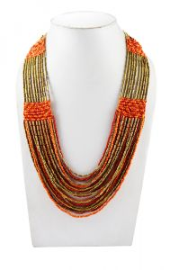 Adbeni Multicoloured Glass Beads And Metal Handcraft Necklace-adb-001