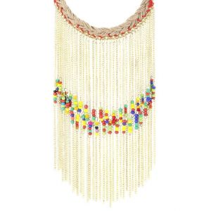 Adbeni Glass Beads On Metal Chain On Jute Braid Handcraft Necklace-adb-006