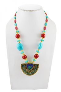Adbeni Mosaic Pendant On Terrcotta Beads Handcraft Necklace-adb-011