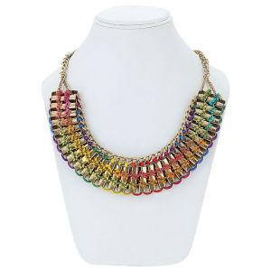 Adbeni Metal And Multicoloured Satin Threads Choker Handcraft Necklace-adb-015