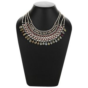 Adbeni Multicoloured Glass Beads And Heavy Layered Look Choker Handcraft Necklace-adb-017