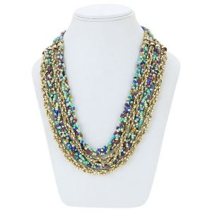 Adbeni Seed Glass Beads And Metal Chains Handcraft Necklace-adb-018