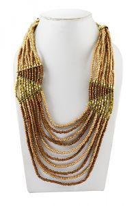 Adbeni Copper Coloured Glass Beads Handcraft Necklace-adb-022