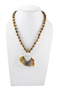 Adbeni Tiger Eye Necklace With Pendant Handcraft Necklace-adb-011