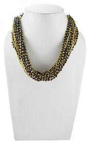 Adbeni Black And Gold Beads Handcraft Necklace-adb-23