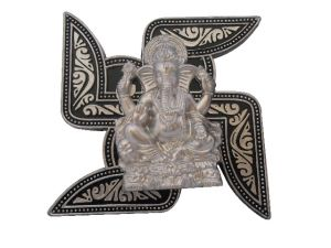 Gci Antique Silver Black Metal Ganesha Hanging