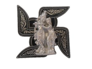 Gci Antique Silver Black Metal Radha Krishna Pair Hanging
