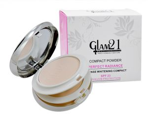 Glam 21 Compact Powder Perfect Radiance With Liner & Rubber Band -hrhh -aaga-(code-gm-8806-cmptpdr-lt28-m-eylnr-fl)