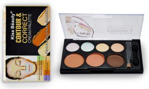 Face Makeup - Kiss Beauty Contour & Correct Cream Palette  With Liner & Rubber Band-Mtrt-(Code-KB-9737-CNLSR-LT28-M-Eylnr-FL)