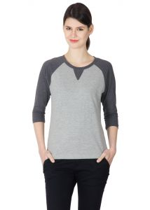 Hypernation Grey Color Long Sleeves Round Neck T-shirt For Women