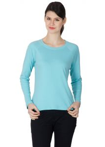 Hypernation Aqua Color Round Neck Full Sleeves T-shirt For Women