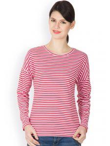Hypernation Red And White Color Striped Round Neck T-shirt For Women