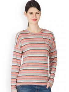 Hypernation Orange And Grey Color Striped Round Neck T-shirt For Women