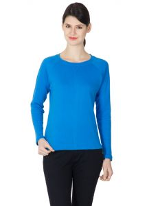 Hypernation Blue Color Round Neck Full Sleeves T-shirt For Women