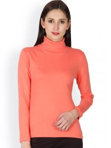 Hypernation Coral Color High Neck T-shirt For Women Made In Cotton