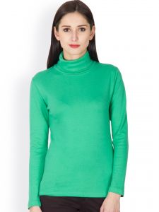 Hypernation Green Color High Neck T-shirt For Women Made In Cotton