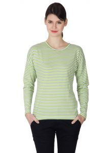 Hypernation Green And White Color Striped Round Neck T-shirt For Women
