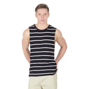 Hypernation Black And White Round Neck Sleeveless T-shirt