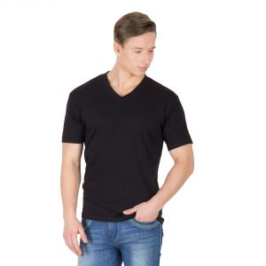 Hypernation Black Color V-neck T-shirts For Men