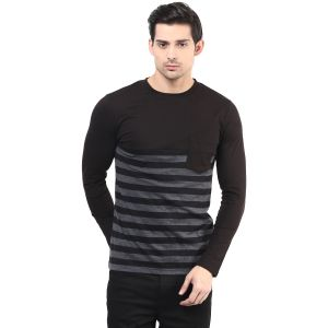 Hypernation Black And Grey Stripe Round Neck Cotton T-shirt