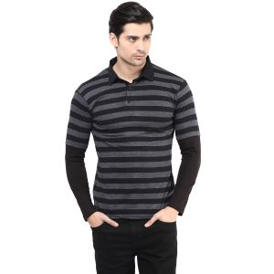 Hypernation Black And Grey Stripe Polo Neck Cotton T-shirt