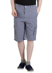 Hypernation Blue And White Checkered Men Shorts