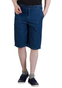 Hypernation Denim Blue Color Shorts For Men