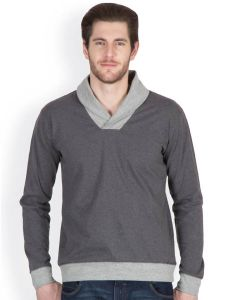 Sweatshirts, Hoodies (Men's) - Hypernation Dark Grey Color Solids Sweat Shirts For Men