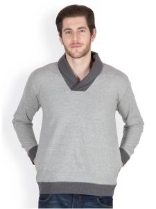 Hypernation Dark Grey Color Full Sleeves Men Sweat Shirts
