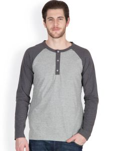 Hypernation Light Grey Color Round Neck T-shirts For Men