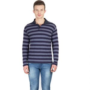 Hypernation Blue And Grey Stripe Polo Full Sleeve Cotton T-shirt For Men