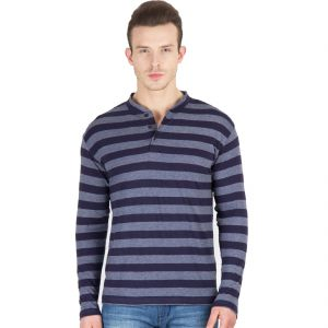 Hypernation Blue And Grey Stripe Henley Neck Full Sleeve Cotton T-shirt.