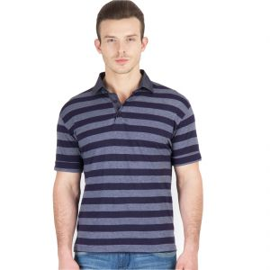 Hypernation Blue And Grey Stripe Polo Half Sleeve Cotton T-shirt For Men