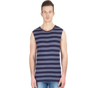 Hypernation Blue/grey Stripe Round Neck Sleeveless Cotton Muscle T-shirt
