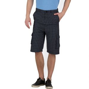 Hypernation Black And White Check Cotton Three Fourth For Men