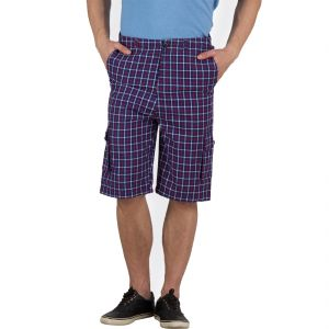 Hypernation Blue And Red Check Cotton Three Fourth For Men.